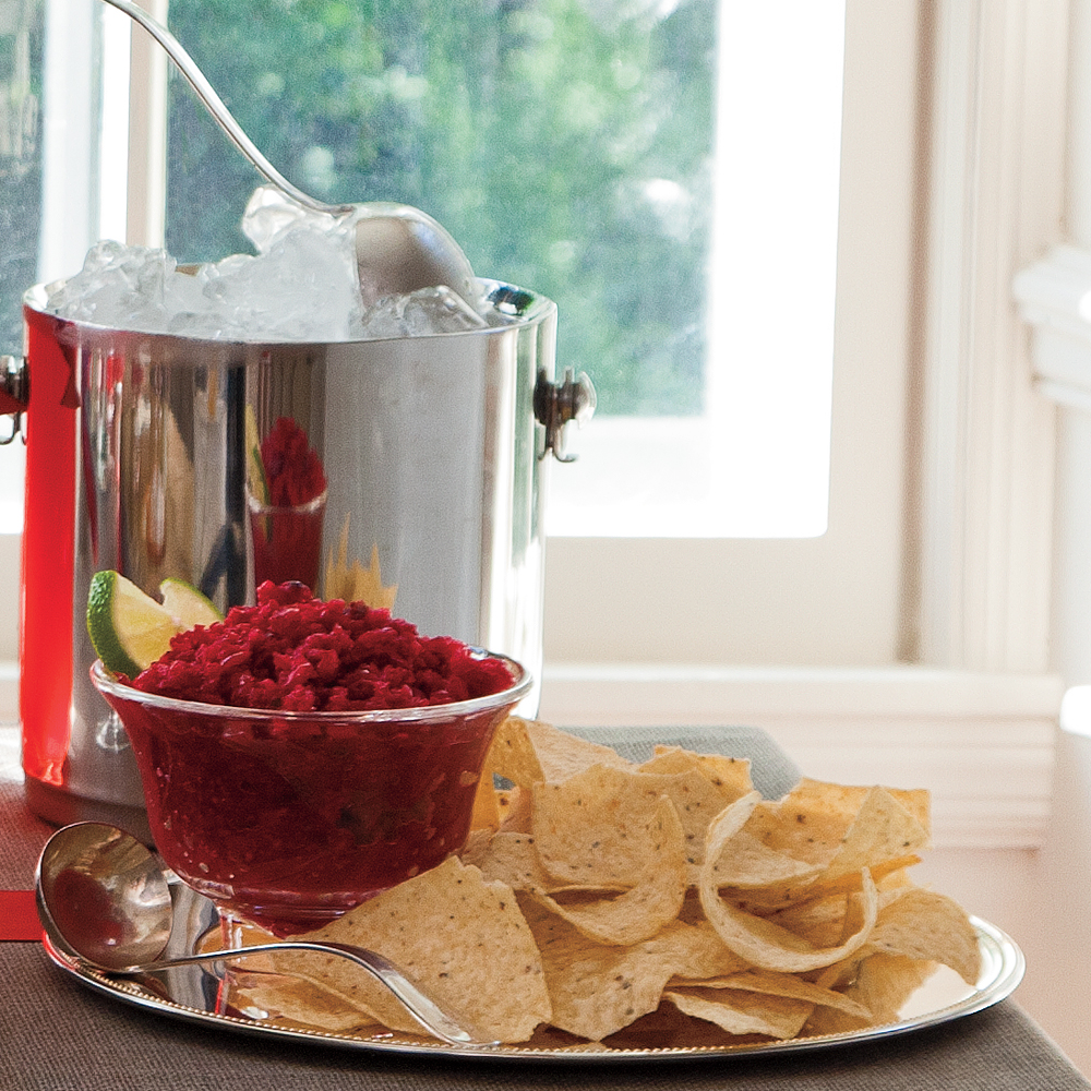 Cranberry-Jalapeño Salsa                            RecipeOffer a festive alternative to tomato salsa during the holidays with this make-ahead salsa featuring fresh cranberries and jalapeño pepper.   You can make the salsa up to a month ahead and freeze.  When it's time to take it to the party, just thaw, spoon into a serving bowl, and bring along a bag of tortilla chips.