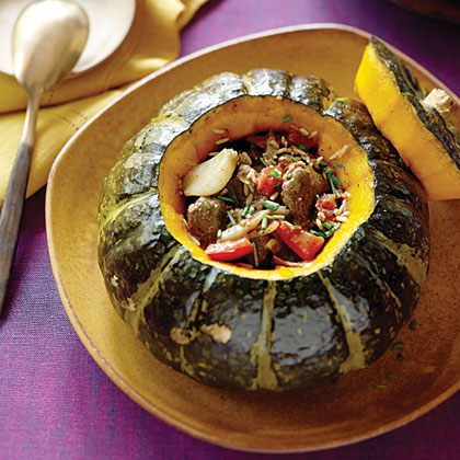 Stuffed Kabocha Squash with Arabic Lamb Stew