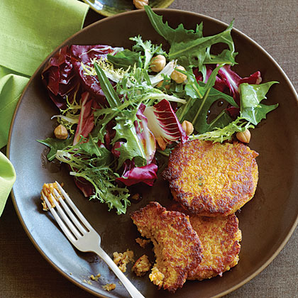 Squash and Chickpea Fritters with Winter Greens and Hazelnut SaladRecipe