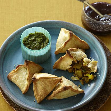 Spiced Potato and Cauliflower Samosas with Two ChutneysRecipe