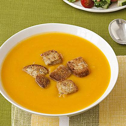 Squash Soup with Whole-Grain Croutons Recipe