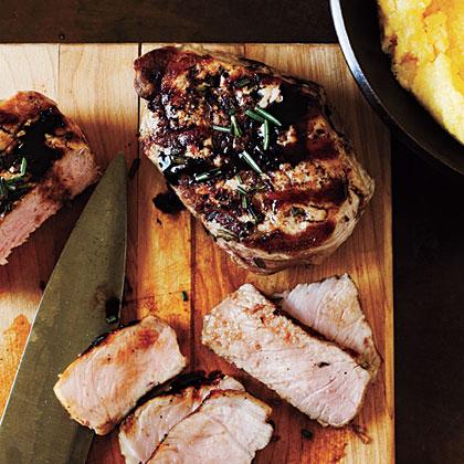 Balsamic-Glazed Pork Chops and Polenta