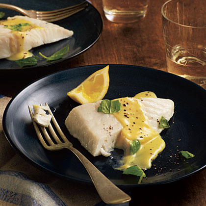 Basil-Steamed Halibut with Lemon-Crème Sauce