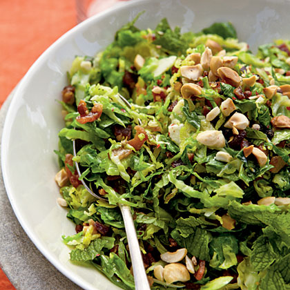 Brussels Sprout Hash with Bacon, Hazelnuts, and MintRecipe