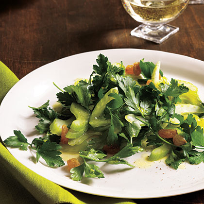 Celery and Parsley Salad with Golden Raisins Recipe