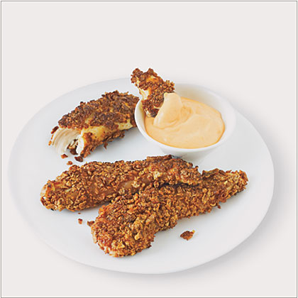 Pan-Fried Chicken Fngers with Spicy Dipping Sauce