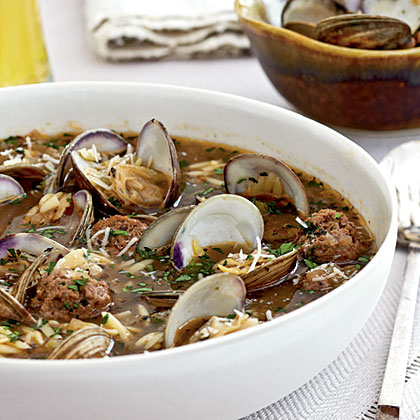 Clam Soup with Orzo and Meatballs