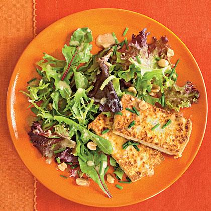 Pan-Crisped Tofu with Greens and Peanut Dressing Recipe