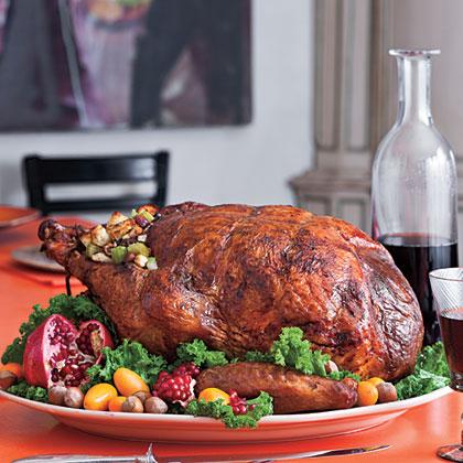 Roasted Turkey Stuffed with Hazelnut Dressing