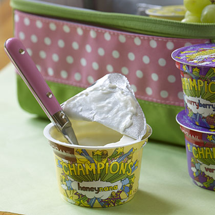 One of our editors' favorite kids lunchbox ideas, Greek yogurt.