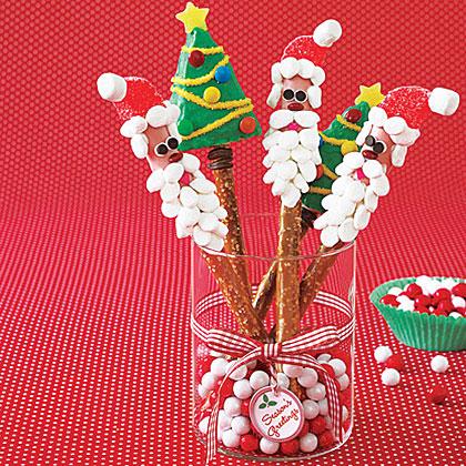 santa and tree pretzel rods