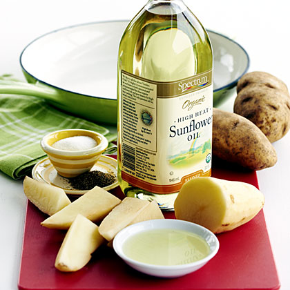 Sunflower oil is a flavorless oil high in polyunsaturated and monounsaturated fat.  It has a fairly low smoke point, so try it whenever your recipe calls for a quick sauté or homemade dressing.  It's also great for baking fries in the oven -- a healthy alternative to traditional deep-fried french fries.