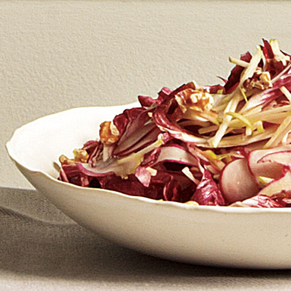 Granny Smith, Radish, and Radicchio Salad with Orange-Walnut Vinaigrette Recipe