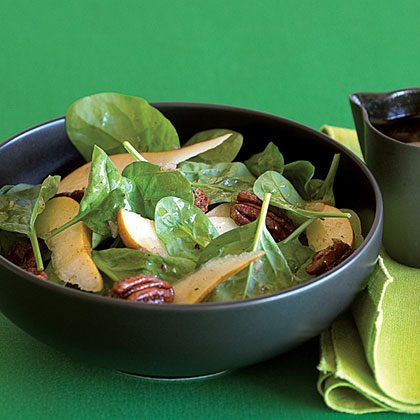 Candied Pecan, Pear, and Spinach Salad Recipe | MyRecipes