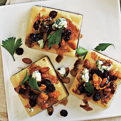 Polenta Squares with Gorgonzola and Pine Nuts Recipe