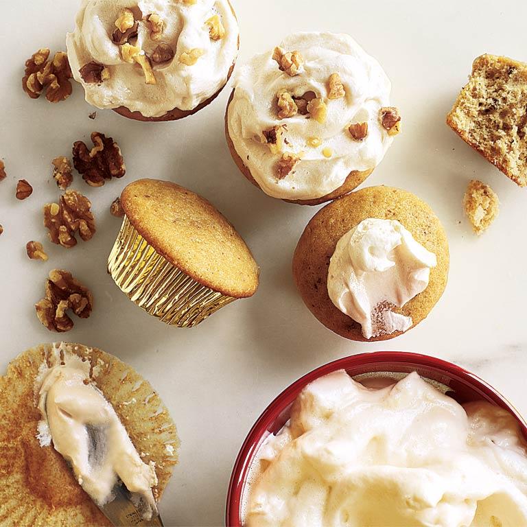 Walnut Cupcakes with Maple Frosting Recipe   MyRecipes.com