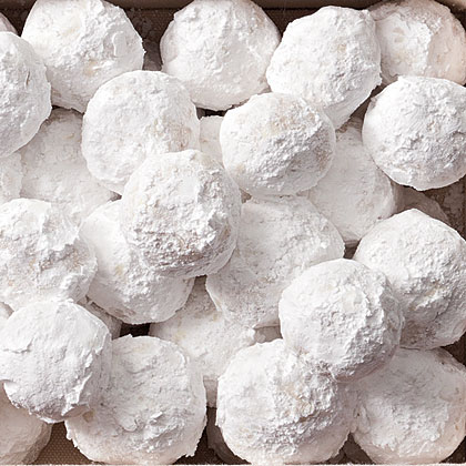 Almond Snowballs RecipeFor a classic holiday cookie, try these almond snowballs.  Simply form dough into balls, bake, and dust with powdered sugar.
