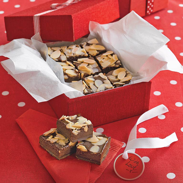 Chocolate-Almond Fudge Squares RecipeThis rich, chocolate-almond fudge does not require a candy thermometer and is a great choice for holiday gifts.