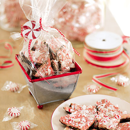 Chocolate-Peppermint Bark RecipeUse two kinds of chocolate, peppermint candies and almonds to make this easy and addictive holiday candy.