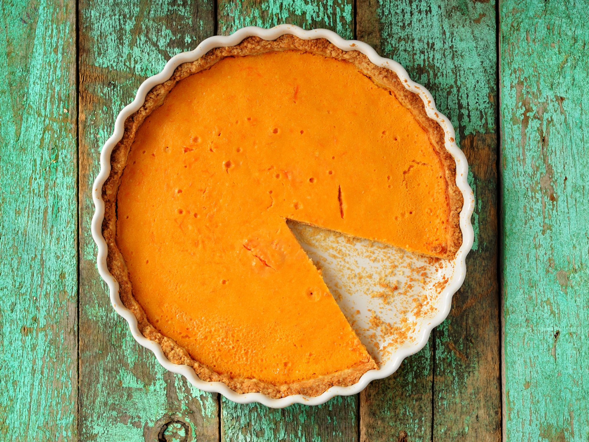 Homemade Pumpkin Pie in White Baking Dish