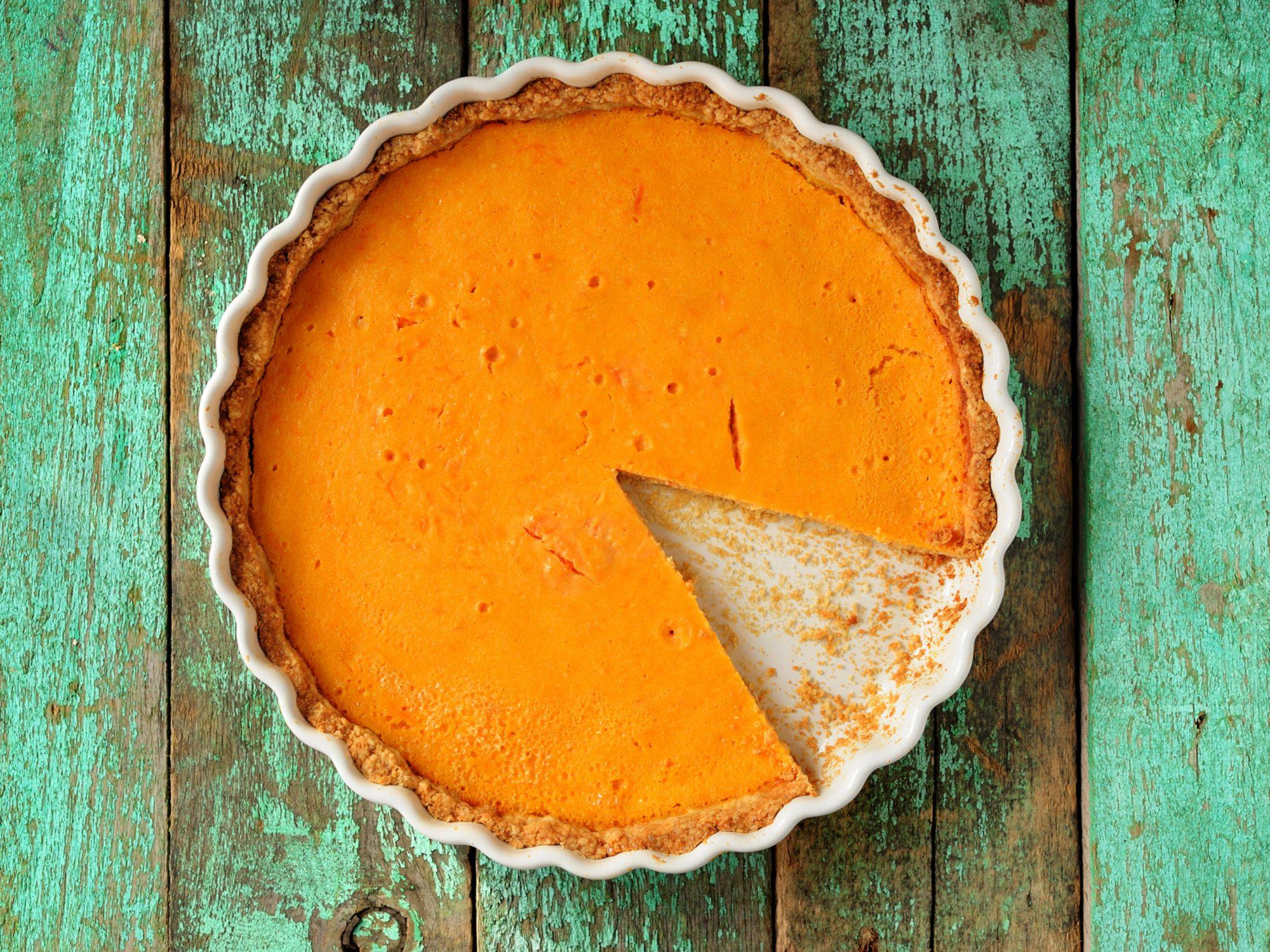 Homemade Pumpkin Pie in White Baking Dish
