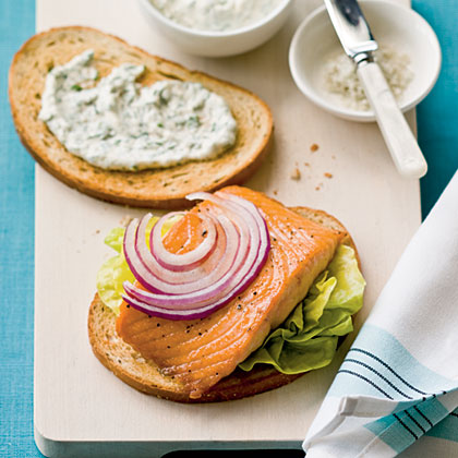 Crunchy Salmon Sandwiches with Horseradish-Dill Mayonnaise