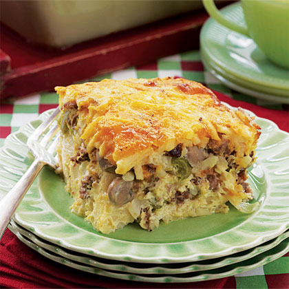 Company Breakfast Casserole RecipeStart with a package of shredded frozen hashbrowns, and add sausage, mushrooms, cheese and eggs to create this make-ahead breakfast casserole.