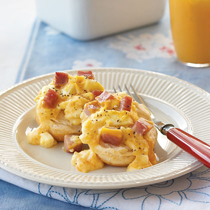 Ham and Egg Casserole RecipeCombine cubed ham with a creamy cheese sauce and serve over hot baked biscuits for a welcoming meal any time of day.