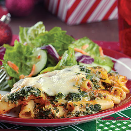 Ziti with Spinach & Cheese