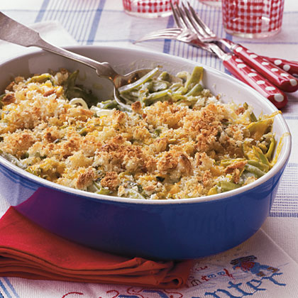 Green Beans Supreme RecipeNot your usual green bean casserole, this one is loaded with sour cream and cheese and has a white sauce instead of canned soup.  It's sure to become your new favorite casserole for holiday entertaining and potluck dinners.
