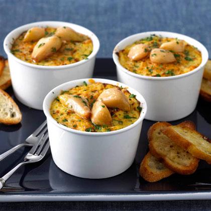 <p>Baked Polenta with Garlic and Parmesan Crostini</p>