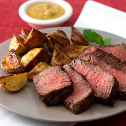 <p>Pepper-Crusted Steak with Mustard-Mint Sauce</p>