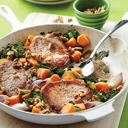 Pork Chops with Butternut Squash, Escarole, and WalnutsRecipe