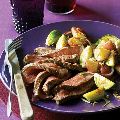 New York Strip Steaks with Brussels Sprout Hash Recipe