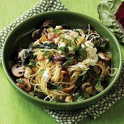 Winter Greens and Mushroom Pasta Recipe | MyRecipes