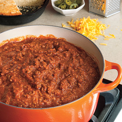 Game Day Chili RecipeThe perfect game day chili looks a lot like this. To serve a crowd, use a large stock pot and have everyone dig in and top with their favorite toppings.
