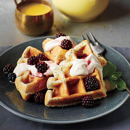 Lemon poppy seed belgian waffles with blackberry maple for Atkins cuisine all purpose baking mix where to buy
