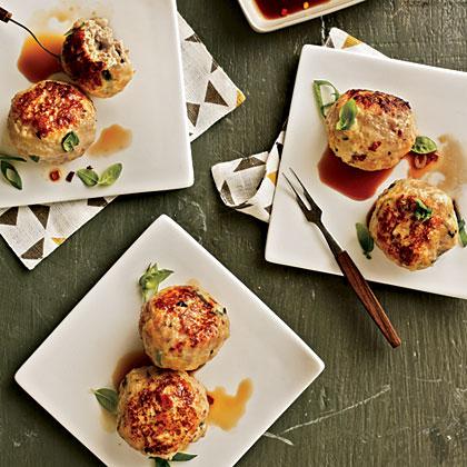 Basil Chicken Meatballs with Ponzu Sauce