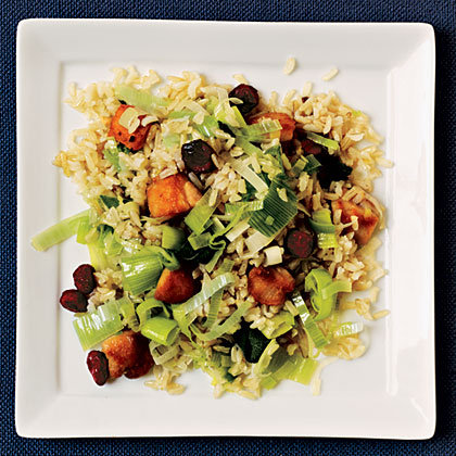 Chicken Fried Rice with Leeks and Dried Cranberries