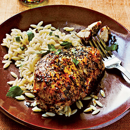 Herb-Crusted Chicken and Parsley Orzo Recipe