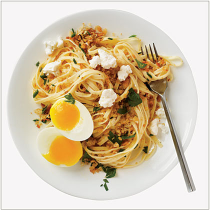 Walnut-Breadcrumb Pasta with a Soft Egg