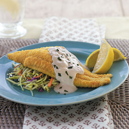Baked Bayou Catfish with Spicy Sour Cream Sauce Recipe