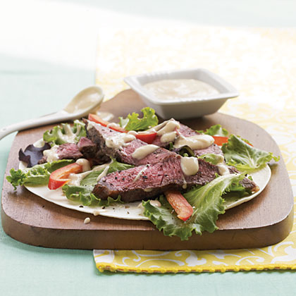 Black Pepper Sirloin Wrap with Kickin' Chipotle Spread Recipe