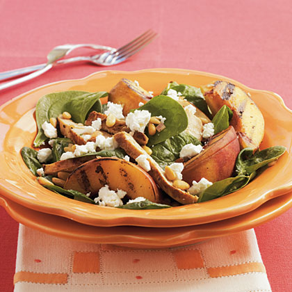 Grilled Chicken and Peach Spinach Salad with Sherry Vinaigrette