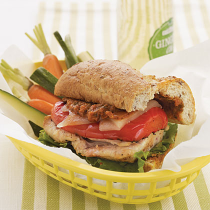 Grilled Chicken and Tomato Pesto Baguettes