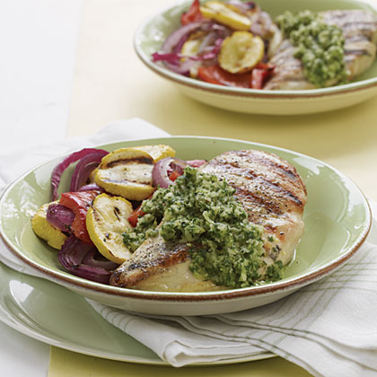 Grilled Chicken and Veggies with Chimichurri Sauce
