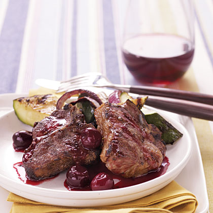 Grilled Lamb Chops with Cherry Port Sauce RecipeWe used port, a sweet fortified wine, to create a vibrant sauce for the lamb. The unique flavor of port is hard to match, but if you need a substitute, use a fruity red wine or 2/3 cup pomegranate-cherry juice and 1/2 teaspoon sugar.