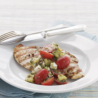 Grilled Rosemary Chicken with Chunky Tomato-Avocado Salsa Recipe