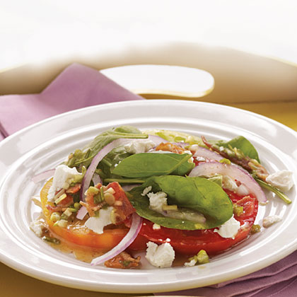 Heirloom Tomato and Goat Cheese Salad with Bacon Dressing
