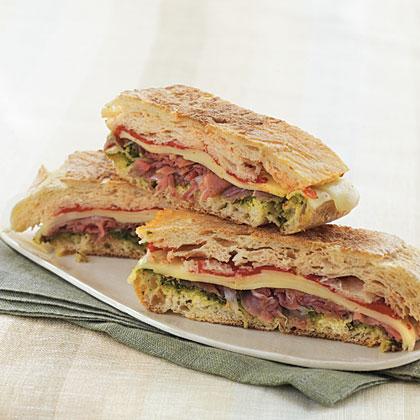 Pressed Italian Sandwich with Pesto